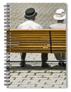 Two People Seated On A Bench Spiral Notebook