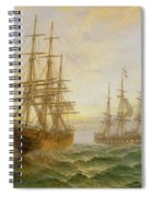 Two Ships Passing At Sunset Spiral Notebook
