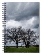 Two Trees Beneath A Dark Cloudy Sky Spiral Notebook