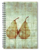 Two Yellow Pears On Folded Linen Spiral Notebook