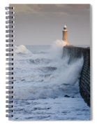 Tynemouth North Pier With Waves Spiral Notebook