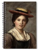 Tyrolean Dirndl With Straw Hat Spiral Notebook