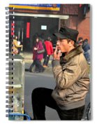 Uighur Street Side Bread Vendor Smokes Shanghai China Spiral Notebook