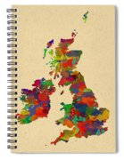Uk Watercolor Map Spiral Notebook