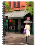 The Purple Bag - New York City In The Rain Spiral Notebook