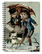 Umbrella In The Snow, Victorian Postcard Spiral Notebook