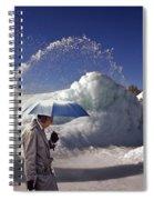 Umbrella Man At Frozen Fountain Spiral Notebook