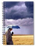 Umbrella Man In Kansas Wheat Field Spiral Notebook