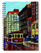 Umbrellas In The Rain Couples Stroll St.catherine Street Downtown Montreal Vintage  City Scene  Spiral Notebook