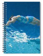 Underwater View Of Woman Diving Into Spiral Notebook