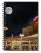 Union Station Denver Under A Full Moon Spiral Notebook