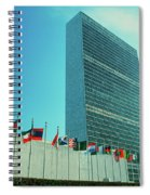 United Nations Building With Flags Spiral Notebook