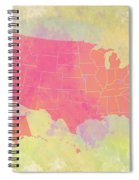 United States Map - Red And Watercolor Spiral Notebook