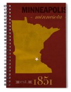 University Of Minnesota Golden Gophers Minneapolis College Town State Map Poster Series No 066 Spiral Notebook