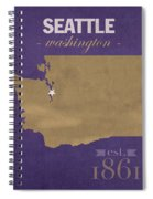 University Of Washington Huskies Seattle College Town State Map Poster Series No 122 Spiral Notebook