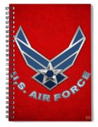 U. S. Air Force  -  U S A F Logo On Red Leather Spiral Notebook