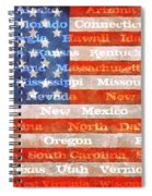 Us Flag With States Spiral Notebook