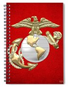 U. S. Marine Corps Eagle Globe And Anchor - E G A On Red Leather Spiral Notebook
