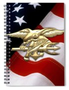U. S. Navy S E A Ls Emblem Over American Flag Spiral Notebook