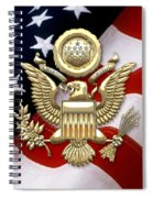U. S. A. Great Seal In Gold Over American Flag  Spiral Notebook