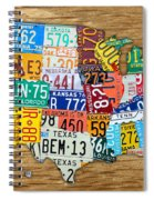 Usa License Plate Map Car Number Tag Art On Light Brown Stained Board Spiral Notebook