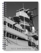 Uss Iowa Battleship Portside Bridge 01 Bw Spiral Notebook