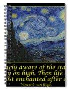 Van Gogh Motivational Quotes - Starry Night II Spiral Notebook