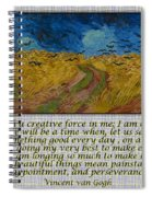 Van Gogh Motivational Quotes - Wheatfield With Crows II Spiral Notebook