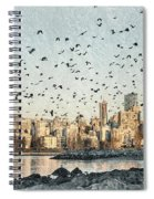 Vancouver Skyline With Crows Spiral Notebook