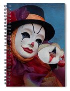 Venetian Carnival - Portrait Of Clown With Mask Spiral Notebook