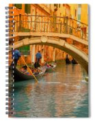 Venice Boat Bridge Oil On Canvas Spiral Notebook