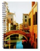 Venice Italy Canal With Boats And Laundry Spiral Notebook