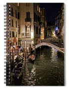 Venice Night By The Canal Spiral Notebook