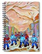 Verdun Back Lane Hockey Practice Montreal Winter City Scen Painting Carole Spandau Spiral Notebook