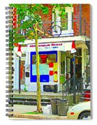 Verdun City Life Bike On Balcony Above Favorite Depanneur Montreal Stairs Summer Scenes Cspandau Spiral Notebook