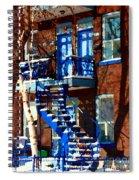 Verdun Duplex Stairs With Birch Tree Montreal Winding Staircases Winter City Scene Carole Spandau Spiral Notebook