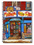 Verdun Famous Restaurant Pierrette Patates - Street Hockey Game At 3900 Rue Verdun - Carole Spandau Spiral Notebook