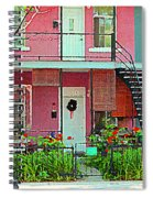 Verdun Flower Boxes Pink House Fenced Front Garden Red Flowers Staircase Scenes Carole Spandau Spiral Notebook
