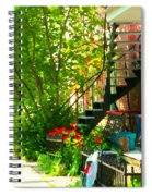 Verdun Stairs Red Flowers On Winding Staircase Tall Shade Tree Montreal Summer Scenes Carole Spandau Spiral Notebook
