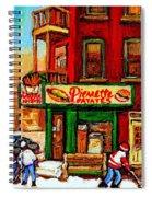 Verdun Street Hockey Pierrettes Restaurant Rue 3900 Verdun -landmark Montreal Hockey Art Work Scenes Spiral Notebook