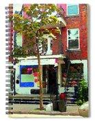 Verdun Variety Store Summer Street Scene Montreal Depanneur Double Staircases Carole Spandau Spiral Notebook
