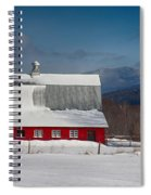Vermont Barn In Snow With Mountain Behind Spiral Notebook