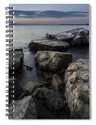 Vermont Lake Champlain Sunset Cloudscape Rocks Spiral Notebook
