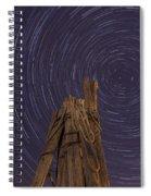 Vermont Night Star Trail Wood Pier Spiral Notebook
