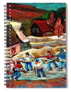 Vermont Pond Hockey Scene Spiral Notebook