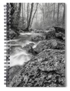 Vermont River Fog Mount Mansfield Black And White Spiral Notebook