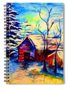 Vermont Winterscene In Blues By Montreal Streetscene Artist Carole Spandau Spiral Notebook
