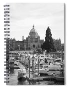 Victoria Harbour With Parliament Buildings - Black And White Spiral Notebook