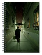 Victorian Man With Top Hat Carrying A Suitcase And Umbrella Walking In The Narrow Street At Night Spiral Notebook