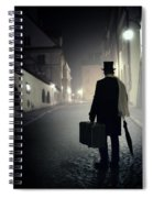 Victorian Man With Top Hat Carrying A Suitcase Walking In The Old Town At Night Spiral Notebook